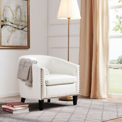 Modern Home Upholstered Tub Barrel Accent Chair Faux Leather Nailhead White