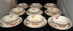 Vintage Copeland Spode Fairy Dell Pattern China Set Of 9 Cream Soup And Saucers