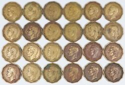 Lot Of 24 1948 Great Britain Three Pence Key Date Coins 3d Uk