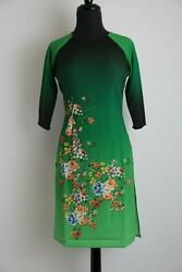 Vietnamese Ao Dai Cach Tan - Colors and Sizes Available (Ombre Floral Design)