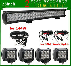 23inch 144w Led Light Bar Combo Offroad Atu Ute 4wd 20/22+4x4 18w+ 3x Wires Kit