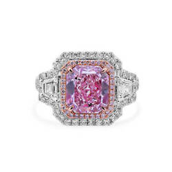 Fancy Light Purple Pink Diamond Ring 4.42 Ct Radiant Cut Real 18K White Gold GIA
