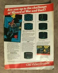 Gorf Wizard Of Wor Cbs Colecovision Video Game 1982 Vintage Advertisement