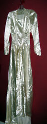 Vintage Wedding Gown Sm White/ivory Thick Satin Long Sleeve W/ Train