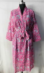 Gypsy Sleepwear Cotton Intimates Indian Block Printed Crossover Kimono Dress 28