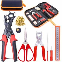 New Heavy Duty Adjustable Metal Hole Punch Pliers Revolving Leather Belt Kit