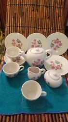 Vintage Childs Tea Set Made In Japan, Flowers With Butterflies