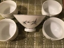 Vintage Japanese Rice Bowls With Bamboo Design