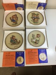 Lot Of 4 Vintage M.i. Hummel Annual Collector's Plates 1974 To 1977 In Boxes