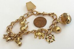 Fabulous Pristine Very Heavy Antique 9ct Rose Gold Charm Bracelet And Charms 36g