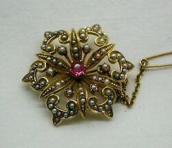 Stunning Antique 15ct Gold Ruby And Seed Pearl Brooch