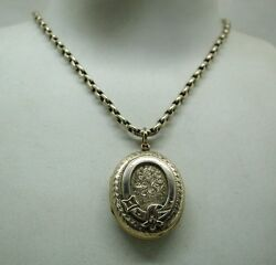 Fabulous Antique Gold Back And Front Engraved Locket With Belt And Buckle Motif
