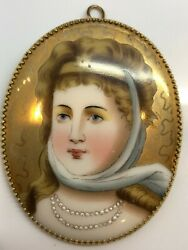 Rare Queen Louise Of Prussia 14k Gold Hand Painted Porcelain Pin Pendant 2.5