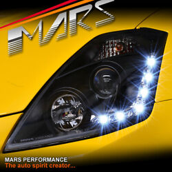 Black LED DRL Day-Time Projector Head Lights for Nissan Z33 350Z 03-05 Fairlady