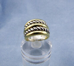 Estate David Yurman 18kt Gold/sterling Silver Wide Classic Cable Band-sz 4.75