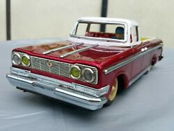 Vntg. Tin Toy Car Mf 151 Pick Up Old 567 Friction 60's China 31cm Rare Red Works