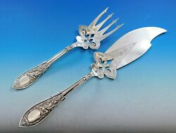 Arabesque By Whiting Sterling Silver Fish Serving Set Brite Cut Pierced Large