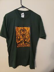 Mens Large graphic John Brown Shirt Green. Heavy Cotton. Henry Thoreau quote. L