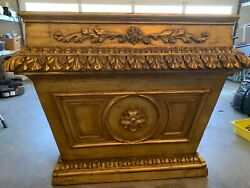 Early 19th C Antique Brazilian Baroque Gilded Altar Console Table Sideboard