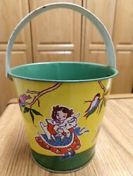 Vintage Small Tin Sand Pail, U.s. Metal Toy, Children And Animals