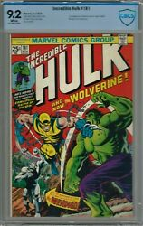 The Incredible Hulk #181 (1974) CBCS 9.2 WHITE NOT CGC 1st First App Wolverine