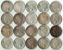 Roll Lot Vg-xf 20 1922-1925 P/d/s Peace Silver Dollar 90 Eagle Collection