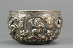 Antique Thailand Silver Bencharong Bowl With Lovely Scene