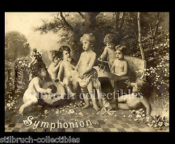 Symphonion Picture Lid Cover Image For Antique Music Box With Cherubs Angels 1