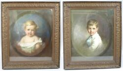 Pair Of Early 20th C. Emily Eyres British Pastel Portraits Of Children