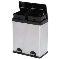 2-Compartment Trash Can Recycling Bin Stainless Steel 16-Gal. Garbage Step Pedal