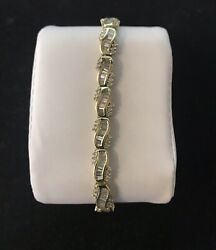 14k Yellow Gold Round And Baguette Diamond Link Bracelet D33