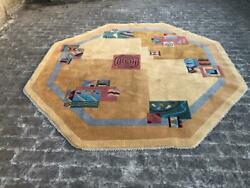 Hand Knotted Indian Unusual Art Deco Rug 8x8ft