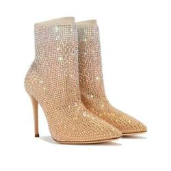 Casadei Pull On Gradient Crystal Ankle Sock Boot