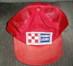 Vintage 1980's Trucker Mest Hat Purina Chows Red Mesh Unused Condition
