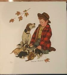 Norman Rockwell Love's Little Treasures Puppy Love HS # Litho on Paper Framed