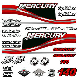 Mercury 140 Four 4 Stroke Decal Kit Outboard Engine Graphic Motor Merc Red