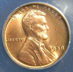 1938 Lincoln Wheat Cent/penny Nearly Perfect Anacs Ms67 Red Beautiful Color
