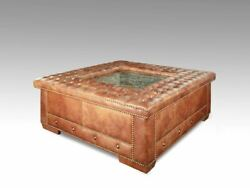 Square Leather Button Tufted Cocktail Ottoman Coffee Table W Marble And Nail Heads