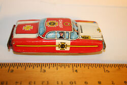 Vintage Tn Nomura Japanese Wind Up Car Fd Chief Car Tin Toy Look Jsh