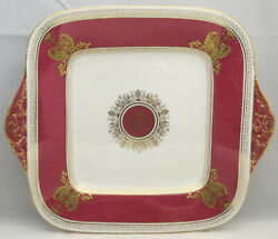 Wedgwood Columbia Powder Ruby Rim And Center Square Handled Cake Plate