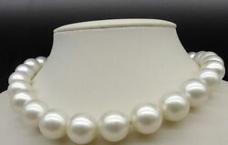Huge 1812-14mm Natural South Sea Genuine White Round Nuclear Pearl Necklace Aa