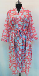 Gypsy Sleepwear Intimates Cotton Crossover Floral Printed Bridal Robe Kimono 50