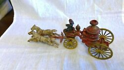 Antique Die Cast Iron Toy Fire Truck With Driver And Horses