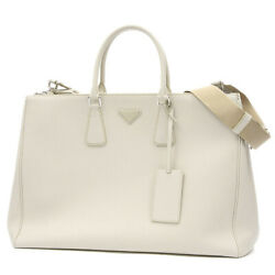 PRADA Galleria 2WAY Bag Saffiano Leather White 2VG047 19Stainless Steel Fr...