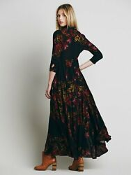Free People 4 S After The Storm Black Floral Maxi Dress Duster Cardigan Jacket