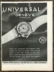 1944 Universal Geneve Watch Co Ad Smart New Waterproof Anti-magnetic Watches