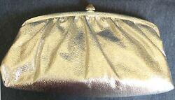 SILVER CLUTCH BAG with DECORATIVE CLASP Lamé Look Chain Handle Lining $10.00