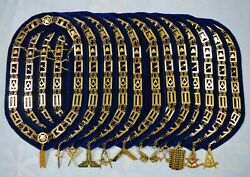 Masonic Regalia Blue Lodge Officers Gold Color Chain Collars With Jewels 12 Pcs