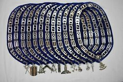 Masonic Regalia Blue Lodge Officer Silver Color Chain Collars With Jewels 12 Pcs