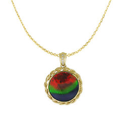 Natural Ammolite Diamond Necklace Pendant In 14k Yellow Gold With Certificate